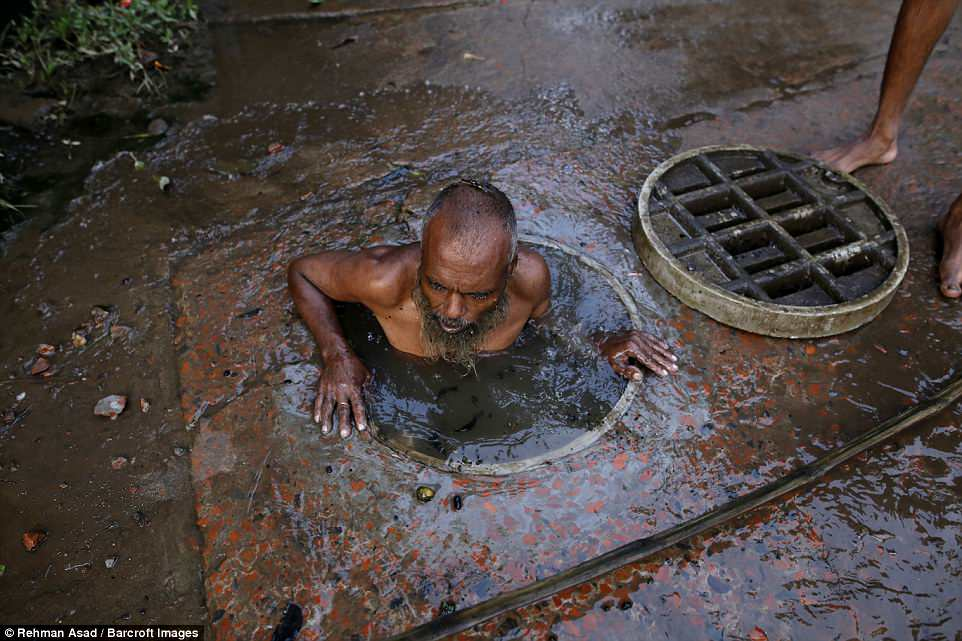 They also must deal with poisonous fumes emitted by the sewage as an extra hazard to the health